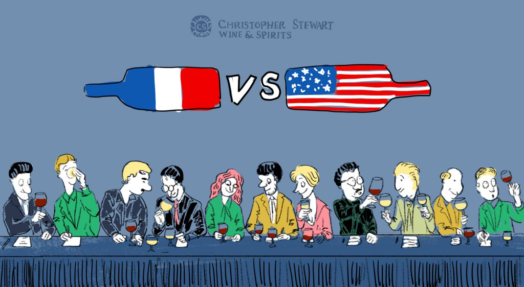 A panel with people under French and American flags