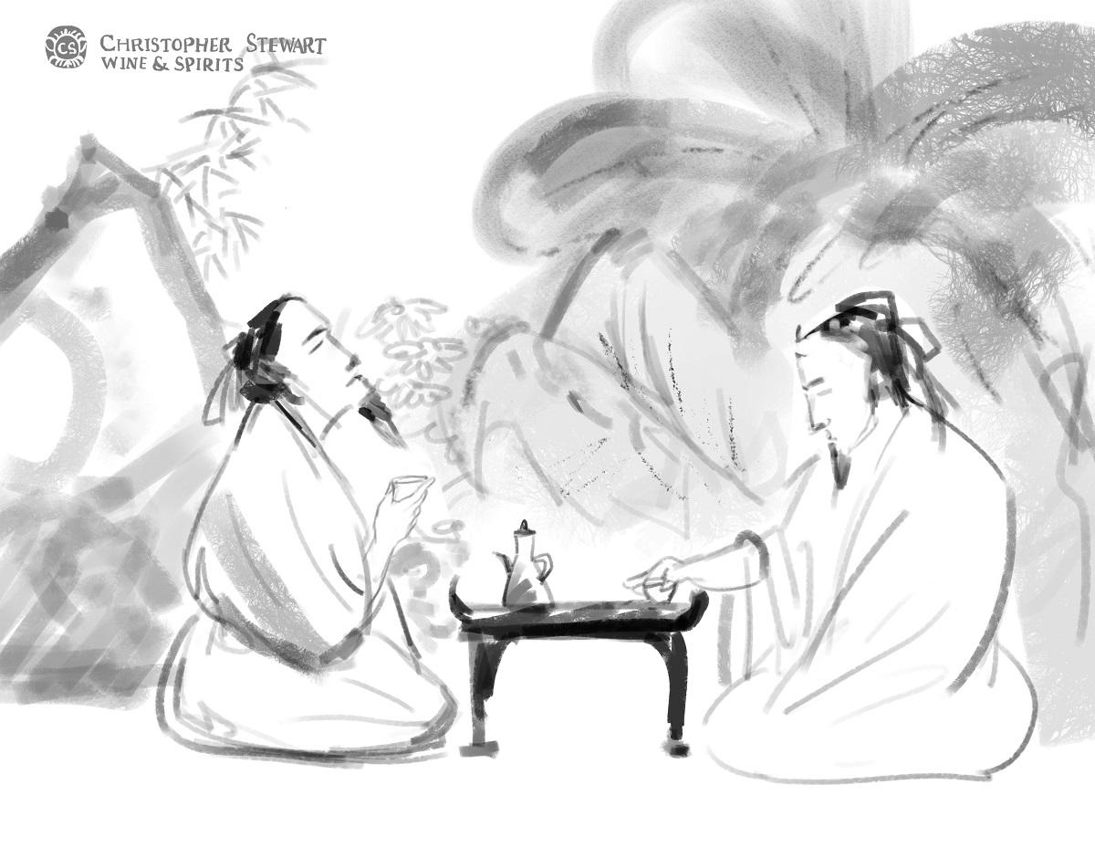 Two men drink together