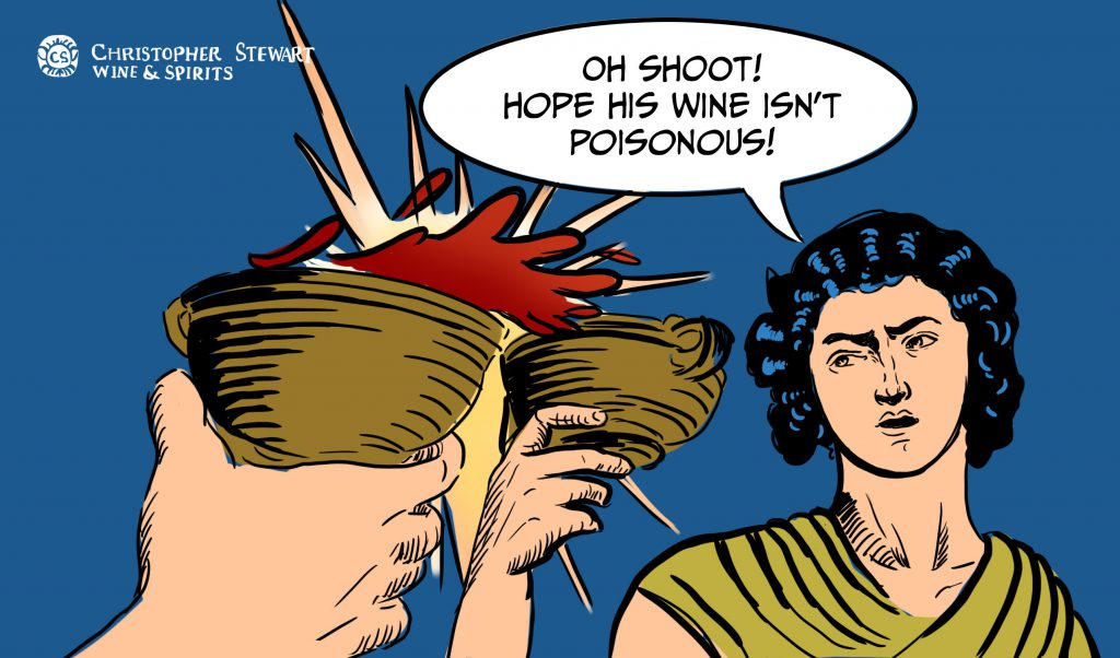 "Cartoon with text bubble ""Oh Shoot Hope this wine isn't Poisonous"""
