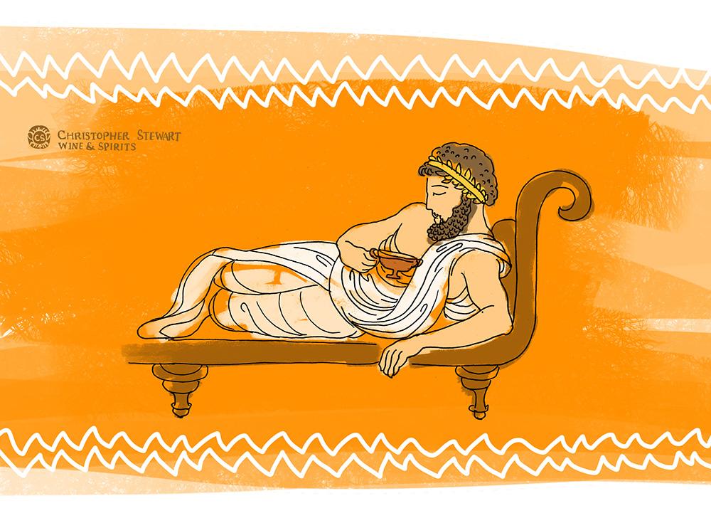 a Greek man lounges drinking wine