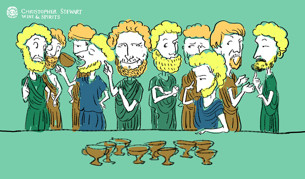Group of Romans play a drinking game consisting of many cups of wine